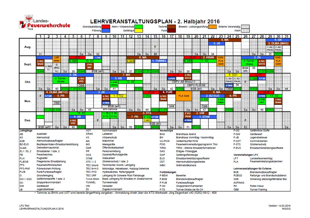 LEHRVERANSTALTUNGSPLAN II 2016